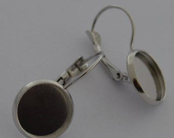 10 supports for cabochon 12mm Platinum earrings