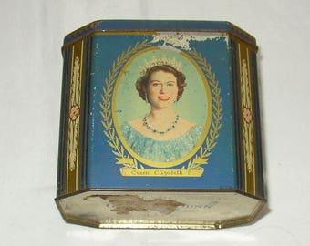 Original Gray Dunn Coronation Biscuit Tin Queen Elizabeth 2 and Prince Philip