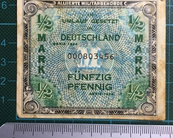 1 x Alliierte Militärbehörde 1/2 Mark (50 Pfennig) Serie 1944 - 000803456