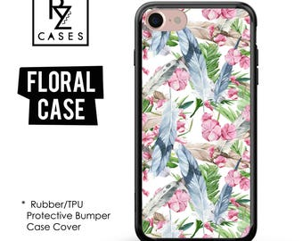 Tropical Phone Case, Boho Case, Feather Case, iPhone 7, Palm Leaves, Floral Case, iPhone 6, 7 Plus, Gift For Her, Rubber, Bumper