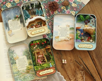 Livraison gratuite bricolage maison poupée!!! miniatures 3D Dollhouse miniaturas meubles maison de poupée pour anniversaire cadeau jouets boîte de théâtre trilogie