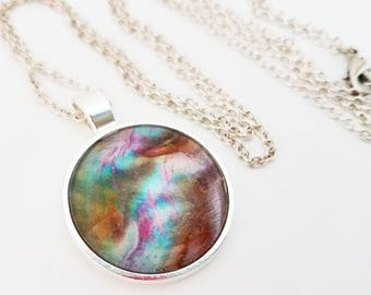 Abalone Seashell Necklace Glass Cabochon Jewelry Mermaid Pendant Brown Purple Turquoise Photo
