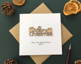 Personalised Christmas Card, Merry Christmas with presants card. Laser cut and custom made.