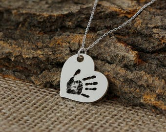 Personalized Hand Print Heart Necklace, Heart Necklace, Love Necklace, Couple Necklace, Custom Necklace, Silver Necklace, Gold, Rose, Gift
