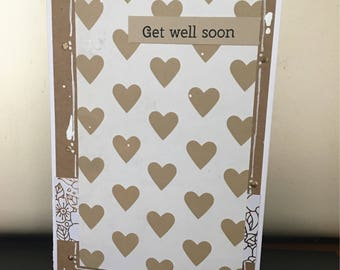 GET WELL Soon Kraft Paper with Hearts and Paint Splatters