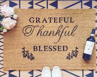 "Custom Coir Thankful Doormat 35x24"""
