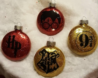 Harry Potter inspired glass ornaments