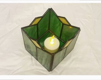 Green Candle Holders-Tiffany, stained glass, candle holder