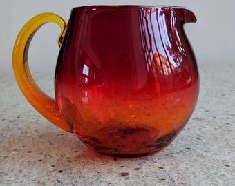 Pitcher/Glass Pitcher/Hand Blown Glass/Amber pitcher/ Amberina pitcher/Glass Pitcher/ Vintage Glass Pitcher