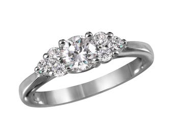 Women's Diamond and White Gold Engagement Ring