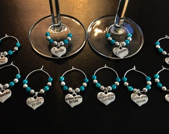 Wedding wine glass charms favours gifts