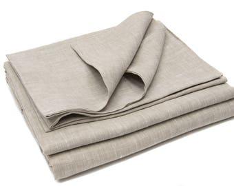 Bed Linen Set, Melange Natural Linen, Linen Duvet Cover, Linen Pillow Cases, 215 cm x 218 cm