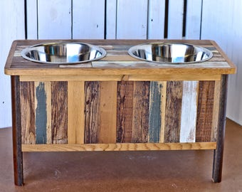 Colorful Rustic Dog Feeding Stand with Hand Inlaid Reclaimed Wood (Large) - elevated dog feeder, rustic dog feeder, raised dog bowl stand