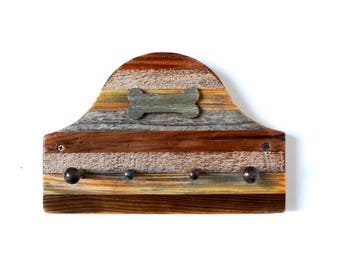 Rustic Inlaid Reclaimed Wooden Leash Holder with Dog Bone Accent  - rustic decor, shabby chic, leash holder, pet leash holder, leash hanger