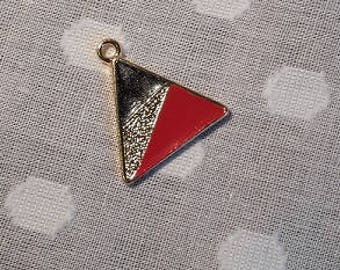 Triangle pendant with red, gold and black colour detail - charm - jewellery - geometric