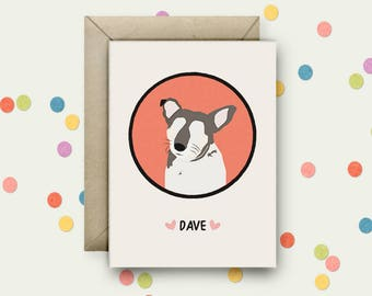 Personalised Pet Portrait Pop Art and Quote A6 Blank Greeting Card with Envelope