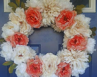 Luxury Spring Summer wreath. Wedding wreath with peonies and lace. Indulge in this wreath with white and pink flowers. Cottage rustic decor.