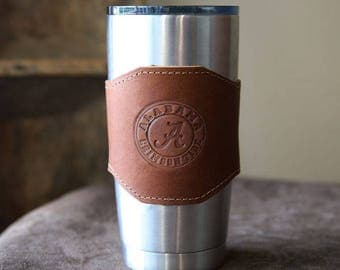 The Officially Licensed Crimson Tide Apollo Leather Drink Cooler Sleeve – for 20oz Yeti Rambler Tumbler