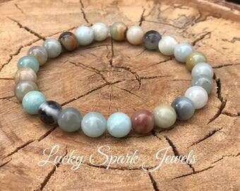 Amazonite bracelet, natural stone bracelet, elastic bracelet, gemstone bracelet, healing braclet, amazonite