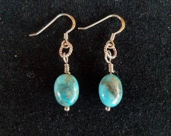 Genuine Turquoise and Sterling Silver Earrings