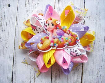 Rapunzel Hair Bow Tangled Bow Tangled Birthday Party Tangled Hair Bow Disney Princess Rapunzel Hair Clip Rapunzel Dress Rapunzel Birthday
