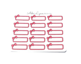Pink Bow Quarter Box Planner Stickers; for Traveler's Notebooks, Erin Condren, Happy Planner