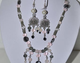grey hematite and pale pink set