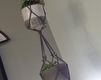 Double macrame for pots divert Suspention plants