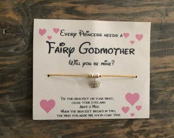 Will you be my Godmother wish bracelet.Fairy Godmother wish bracelet.Disney wish bracelet.Princess wish bracelet .