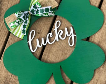 Lucky Shamrock door hanger- shamrock door hanger- wreath- St. Patrick's Day Door hanger