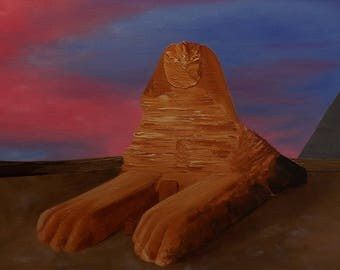 The Great Sphinx 40 x 60cm, abstract modern art, original oil painting (2017)