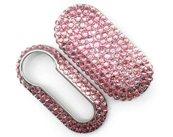 Fiat 500 key cover pink rhinestones pop lounge case fob crystal girly car accessories keyring keychain diamante diamond rhinestone silver