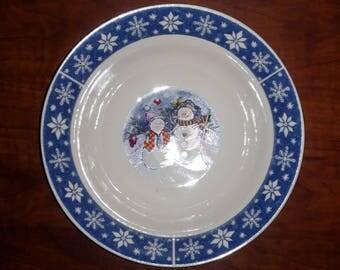 Crofton Snowmen and Snowflake Serving Bowl