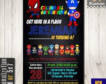 Superhero Kid Invitation, Superhero Birthday Invitation, Superhero Comic Party, Superhero Comic Invitation, Avengers Invitation