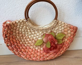 Bohemian! Vintage Wicker bag with flower and bamboo handle