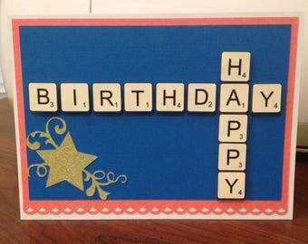 Handmade Scrabble Birthday Card