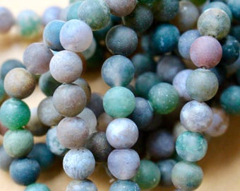8mm Frosted Indian Agate beads, full strand, natural stone beads, round, 80041