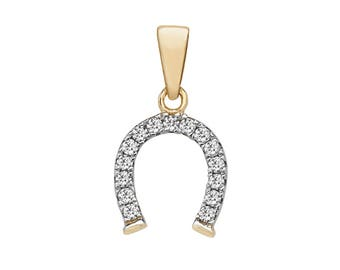 9ct Yellow Gold & Pave Cz Lucky Horse Shoe Charm Pendant