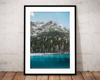 Mountain Lake Digital Print, Nature Poster, Alps, Nature Photography, Home Decor, Forest Wall Art, Mountain Snow, Green Blue Water, Austria