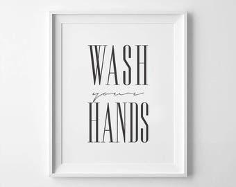 bathroom printable wash your hands home decor bathroom sign bathroom art - Fantastisch Badezimmereinrichtung