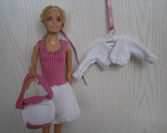 Set of knitted handmade for Barbie, white and pink, doll dress, Barbie fashion Clothes.