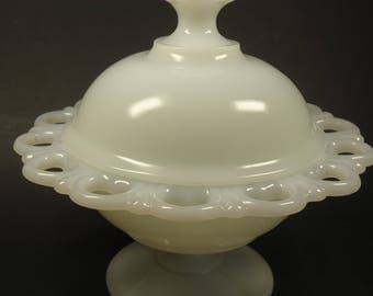 Pedestal milk glass candy dish with lid