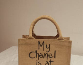 Mini shopper, funny phrase, hand painted