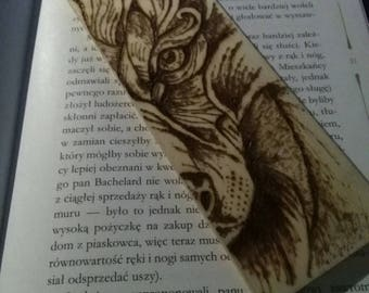 Hand-burned bookmark: wolf. Pyrography.