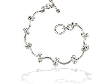 Curved Bar Bracelet - Sterling Silver Bracelet - Contemporary Bracelet - Women's Bracelet