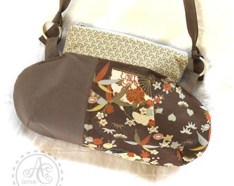 Shoulder bag, Brown, beige, rust and gray Japanese fabric