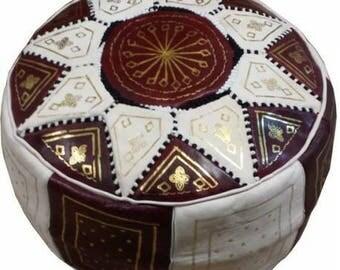 Brown Moroccan pouf, Leather pouf, bohemian pouf, Ottoman, Boho decor, bohemian pouf