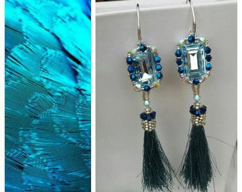 Blue pendant earrings with tassel and Coprinappina worked with beads.