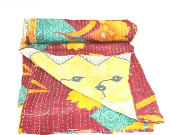 Vintage Reversible Cotton Kantha Quilt Handmade Indian Kantha Quilt Old Kantha Throw Vintage Blanket 54