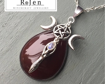 Carnelian & Rainbow Moonstone Goddess Triple Moon Pentagram Pendant